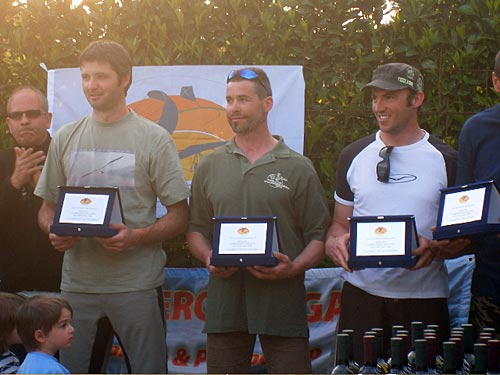 Italian HG Nationals Podium. Podium: Elio 1st centre, Christian 3rd left, Alex 2nd right