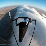 Jonny Durand flies hang glider on Morning Glory