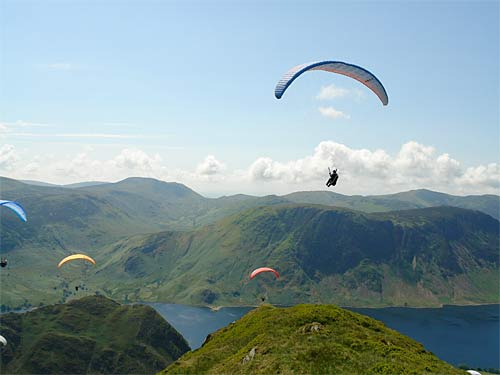 Paragliders enjoying the UK's beautiful Lake District