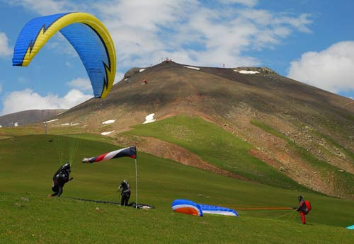 Gudauri paragliding launch, Georgia, a better bet for cross country flying