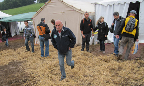 And straw is being used to soak up the mud on the way into Coupe Icare's festival tents.