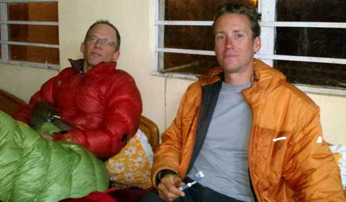 Eric Reed, left, and Brad Sander in custody on 20 March 2011. Photo: Himalayan Odyssey