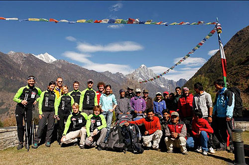 Mike and the expedition team in Lukla, Nepal