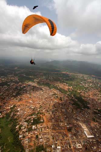 Paragliding above Nkawkaw in Ghana. Photo: Nick Greece