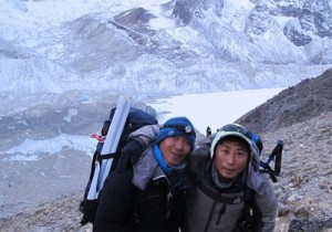Babu Sunuwar and Lakpa Tshering Sherpa on the lower slopes of Everest earlier this season. Photo: Babu Sunuwar