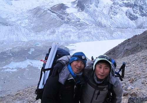 Babu Sunuwar and Lakpa Tshering Sherpa on the lower slopes of Everest in April this year. Photo: Babu Sunuwar