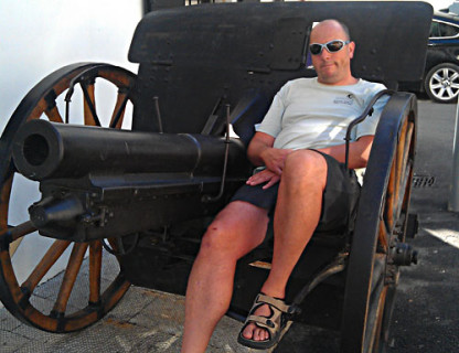 The Big Guns: Mark Hayman does the tourist thing in Soce, Slovenia