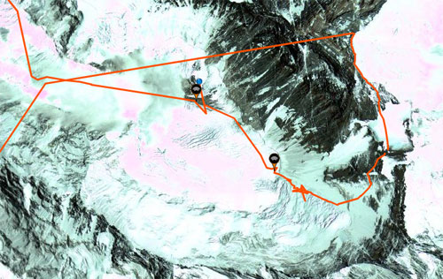 A zoom of the south side of Everest showing the route up the South Col and take off
