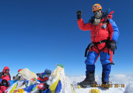 Babu Sunuwar on the summit of Everest at 8.50am 21 May 2011, shortly before his flight from the summit. Photo: Babu Sunuwar/Lakpa Tshering Sherpa
