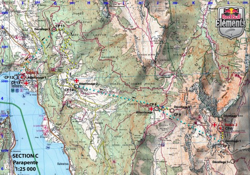 Red Bull Elements 2011: route map for the paragliding section