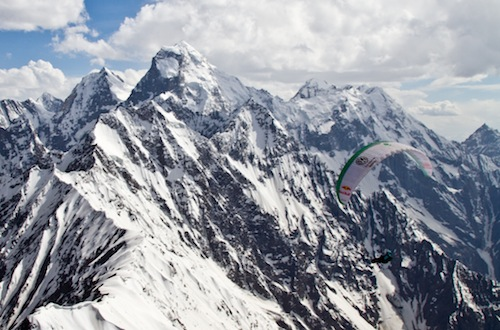 Thomas de Dorlodot paragliding in the Pakistan Karakoram Mountains