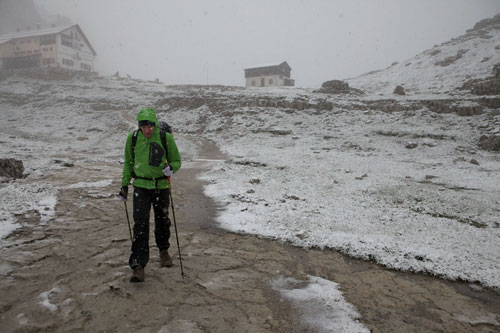 Chrigel Maurer hikes towards the Tre Cime turnpoint early in the morning on 20 July 2011. Photo: Red Bull X-Alps