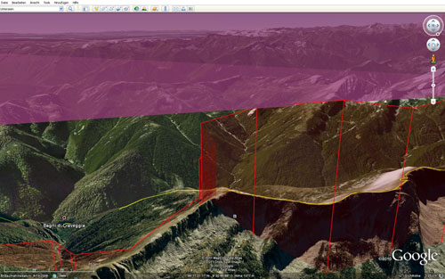 A Google Earth snapshot of Chrigel Maurer's Red Bull X-Alps tracklog on 22 July 2011 shows him flying close to airspace