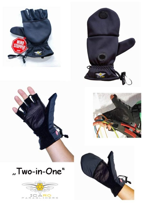 Icaro's two-in-one gloves for paragliding and hang gliding