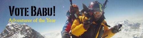 Babu Sunuwar and Lakpa Sherpa above Everest