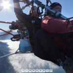 360-degree paramotorist's eye view of Lake Annecy in autumn