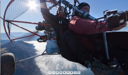Annecy 360 degree panorama from paramotor