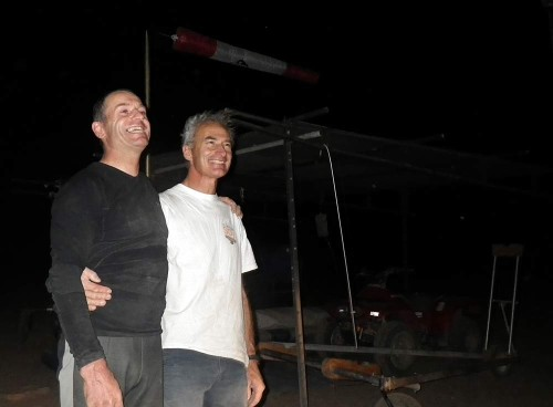 Packing up in the dark: Carlos Pugnet (ES) and Patrick Chopard (FR) after their record-breaking day in Namibia