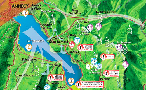 Detail of the new paragliding and hang gliding map of Annecy, France