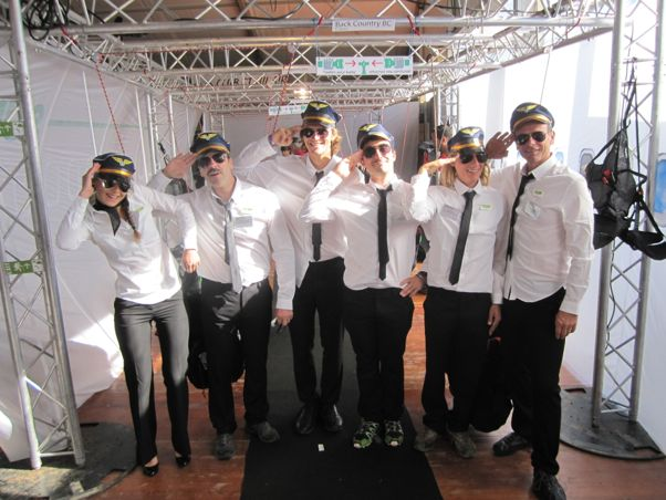 Team Sup'Air, who have dressed their stand as a plane, complete with cabin crew and captains