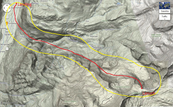 A map of the area. The red line is the planned flightpath, the yellow line is the search are