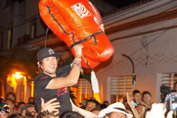 Aaron Durogati celebrates in Colombia after winning the PWCA Superfinal 2012. Photo: Aaron Durogati / Facebook