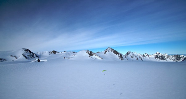Spot the glider... paragliding in Greenland. Photo: Gemma Woldendorp and Natasha Sebire