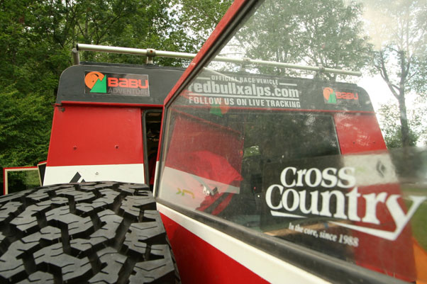 Babu Sunuwar's bus. Cross Country is a sponsor. Photo: Ed Ewing
