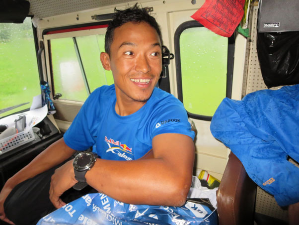 Babu Sunwar, Team Nepal, inside his team truck. Photo: Ed Ewing