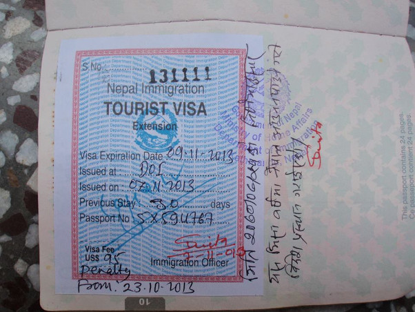 Veteran Canadian tandem pilot Grey Hamilton's passport, stamped with an exit visa requiring his immediate departure from Nepal. Photo: Grey Hamilton