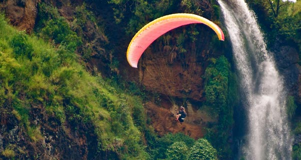 Waterfall flying in Uganda. Photo: Tim-Patrick Meyer