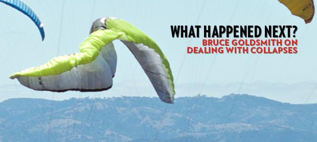 An Ozone Delta 2 paraglider with a side collapse in Manilla