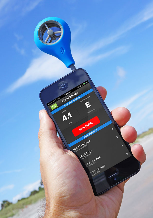 The Wind Meter is blue and plugs into the top of your phone