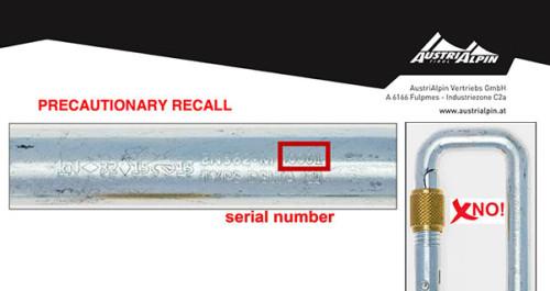 Precautionary recall of AustriAlpin Delta karabiners
