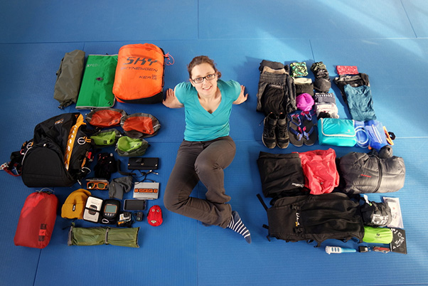 Eliane Ott with all her gear. All photos: Elliane Ott and Moritz Leiser