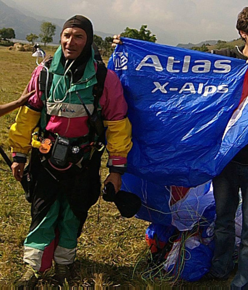 Herve Burdet after his flight over the summit of Machapuchare. Photo: Herve Burdet / Facebook