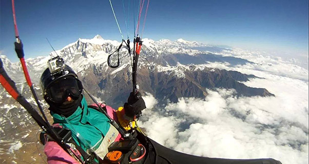 Herve Burdet above Machapuchare. Photo: Herve Burdet / Facebook