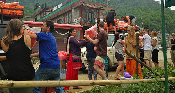 Pilots in Nepal load aid for local villages hit by the Nepal earthquake. Photo: Karma Flights
