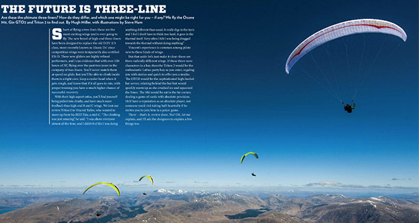 Test-flying three-line paragliders: M6, GTO2, Triton 2