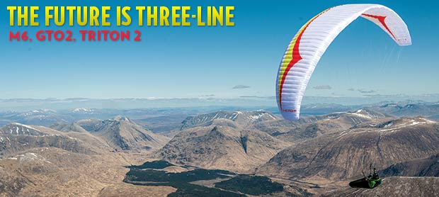 Three line paragliders in Scotland, M6, Triton 2, GTO2