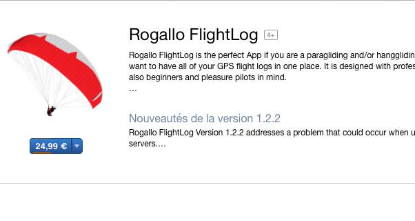 Rogallo FlightLog app for Macs