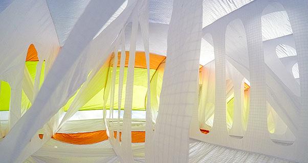 Inside a paraglider