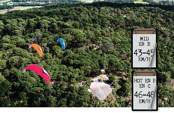 Airspeed of an EN B or EN C paraglider
