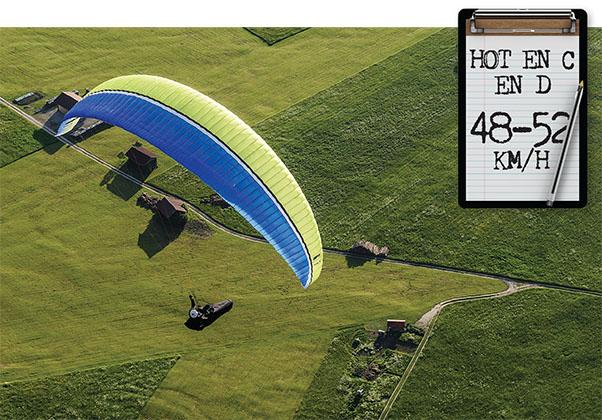 Airspeed of EN D paragliders