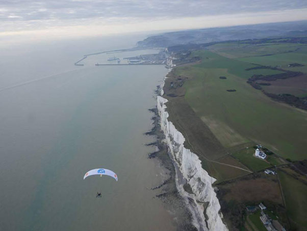 Arriving above the White Cliffs of Dover, UK, on 5 December 2016. Image: WWT / flightoftheswans.org