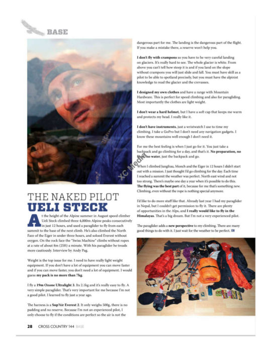 Ueli Steck's interview in Cross Country 144