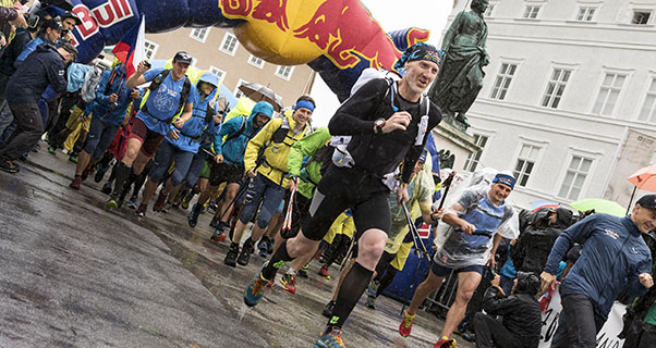 Competitors perform at the start of the Red Bull X-Alps in Salzburg, Austria on July 2, 2017