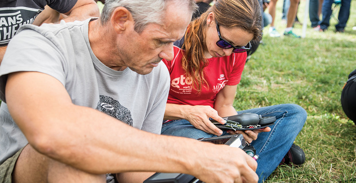 Checking instruments during the Paragliding World Championships 2017