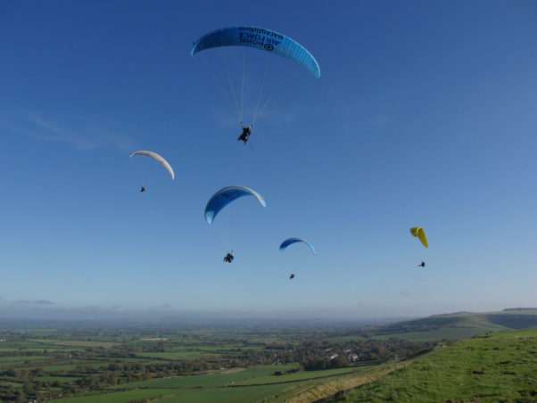RAF paragliding at Westbury in the UK. Photo: Nik Valiris